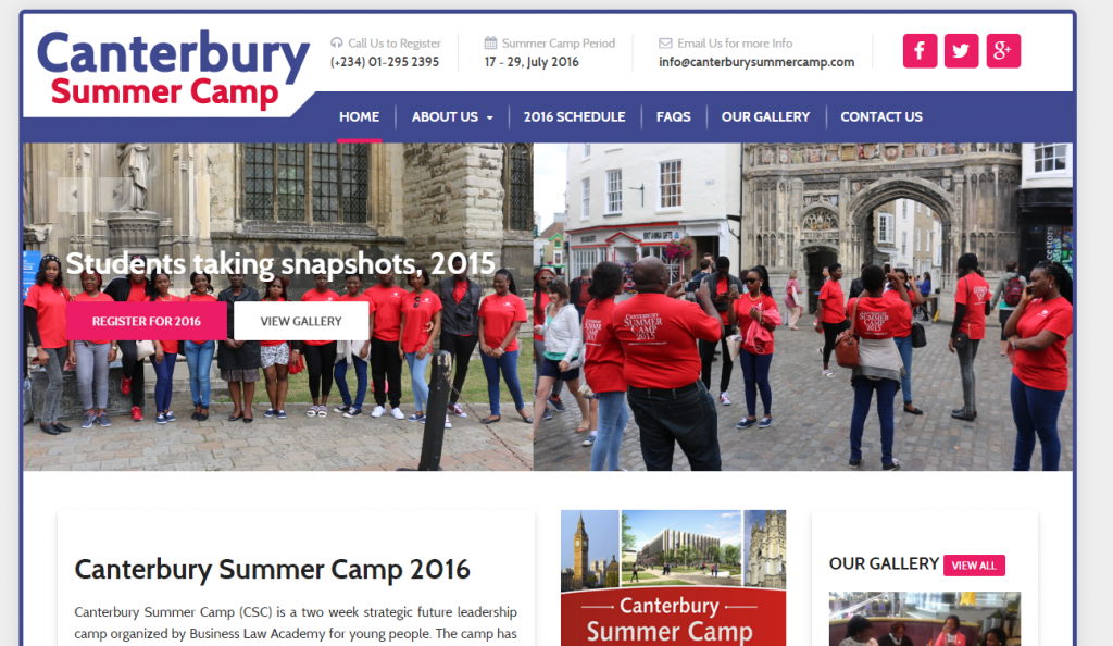 We developed Canterbury Summer Camp Website this January